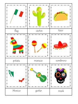 Mexico themed Three Part Matching preschool learning game.  Daycare.