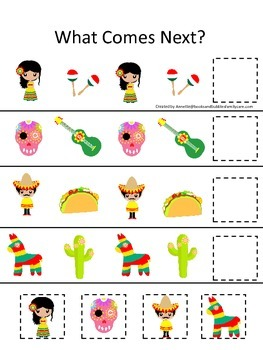 Mexico themed What Comes Next preschool educational learning game.  Daycare.