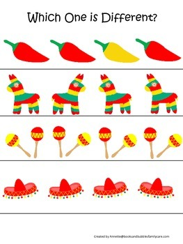 Mexico themed Which One is Different preschool learning game.Daycare learning..