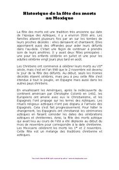 Dossier pédagogique multiâge Fête des morts Dia de los muertos Mexique