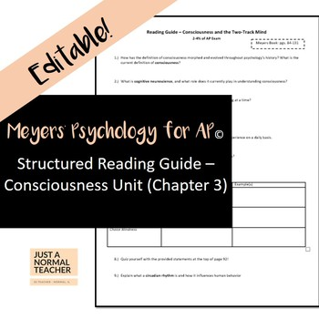 Meyers' Psychology for AP© - Consciousness (Chapter 3) Reading Guide