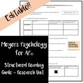 Meyers' Psychology for AP© - Research Unit (Chapter 1) Rea
