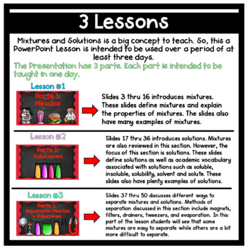 Mezclas y Soluciones Mixtures and Solutions Lesson With Notes