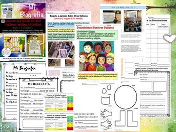Mi Biografia- A Spanish & Social Studies Writing Activity -Editable Powerpoint