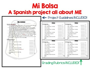 Mi Bolsa (My Bag) A Spanish All About Me Project for la Cl