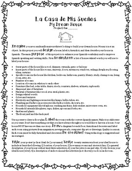 Mi Casa Ideal- Dream House Project, Poster and Writing Assignment