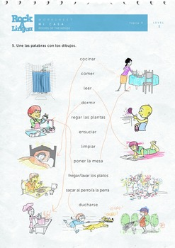mi casa rooms of the house in spanish songs worksheet picture dictionary. Black Bedroom Furniture Sets. Home Design Ideas