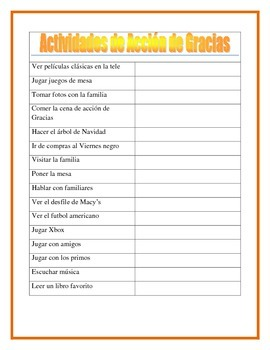 Thanksgiving Activities- A mi Familia le gusta- Writing Prompt- Spanish