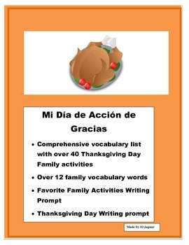 Thanksgiving Activities- A mi Familia le gusta- Writing Pr