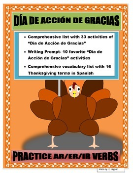 Mi Día de Acción de Gracias- AR/ER/IR Thanksgiving Activities in Spanish