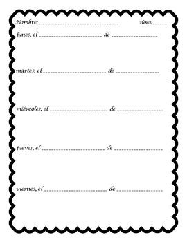 Mi Diario Bell Ringer Journal Sheet Template