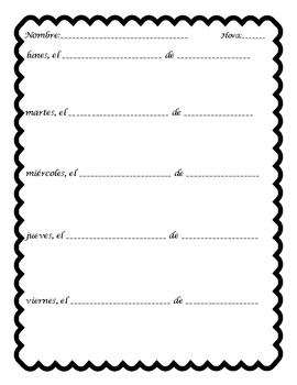 Mi Diario Bell Ringer Journal Sheet Template