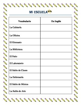 Parts of the School - Lugares de la Escuela-vocabulary and