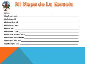 Places in School -Spanish- Lugares Escuela - Powerpoint with Fun Activity & Map