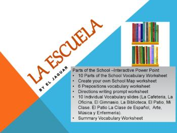 Places in School -Spanish- Lugares Escuela - Powerpoint wi