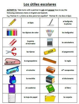 Mi Escuela - School vocabulary in Spanish - stationery,classroom items,subjects