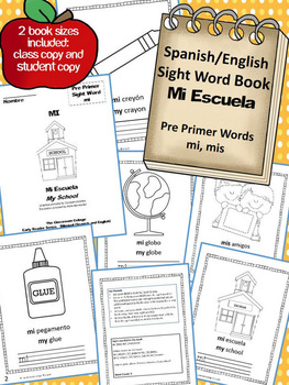 Mi Escuela Spanish Sight Word Early Reader Book  mi, mis (my) Bilingual