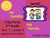 Mi Familia My Family Journeys Unit 1 Lesson 2 Second Grade supplement activities