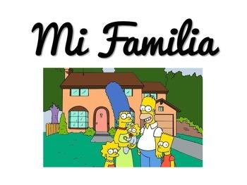 Mi Familia Vocabulary PPT featuring The Simpsons
