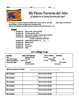 Mi Fiesta Favorita del Año - Spanish Speaking Activity