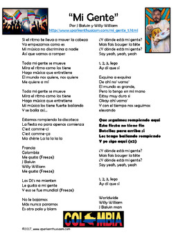 Mi Gente - Spanish Song Lyrics and Activities Unit - J Balvin