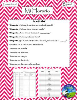 Mi Horario - School Class Schedule - Spanish 1