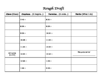 Mi Horario Mini-Poster Project - School Schedule