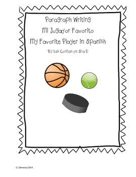 Mi Jugador Favorito My Favorite Player Paragraph Writing (Sports Unit)