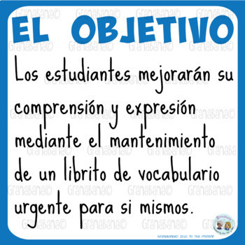 Vocabulary Log Booklet - Mi Librito de Vocabulario Urgente: Nivel Superior
