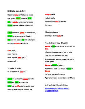 Mi Lista Aldrey- Cloze Song Activity Present Tense Verbs