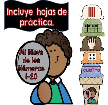 Mi Nieve De Los Números 1 al 20 - Spanish Number Ice-Cream Scoops 1-20