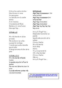 Mi Nina Bonita Spanish Song with Cloze Activity