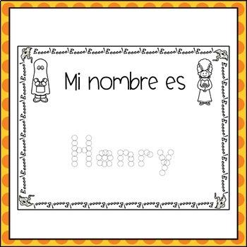 Spanish Halloween Name Practice (Customized Dot Dot)