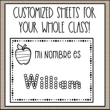 Name Writing Practice in Spanish (Custom Order)