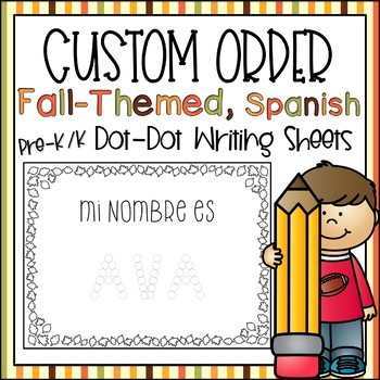 Preschool Fall Name Practice, Spanish (Custom Order)