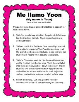 Me llamo Yoon / My Name in Yoon Spanish Interactive Journa
