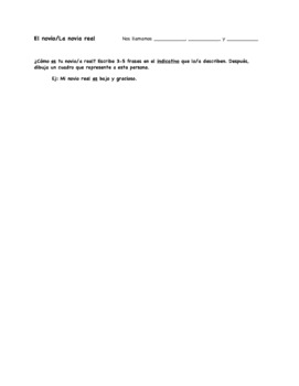 Mi Novio Ideal: Spanish Subjunctive (Unknown/Adjectival Clauses) Group Activity