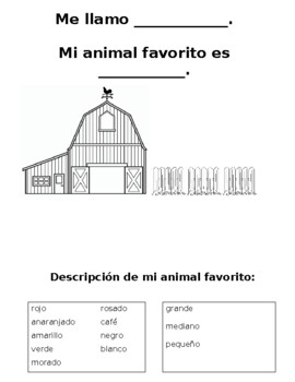 Spanish Favorite Animal Worksheet / Mi animal favorito