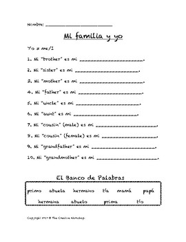 Mi árbol genealógico - Creating your Family Tree (Spanish activity & craft)