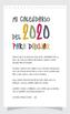 Mi calendario 2020 para dibujar y colorear