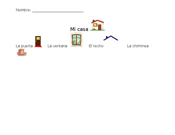 Mi casa quick drawing and coloring activity for pre school
