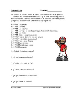 Mi día típico: Spanish Reading + Worksheet - Reflexive Verbs: Verbos reflexivos