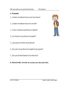Mi escuela y mi profe favorita Lectura - Spanish School Reading and Worksheet
