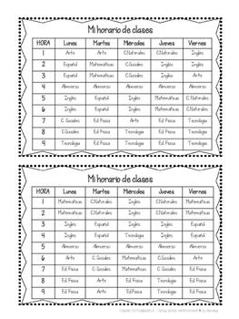 Mi horario de clases ~ Class Schedule REALIDADES A supplementary activity