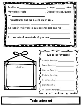 Mi librito de recuerdos (fin del año) Memory Book (Spanish) 4th - 4o