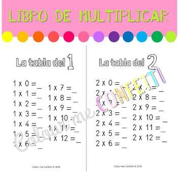 Mi libro de las tablas de multiplicar - Colour me Confetti