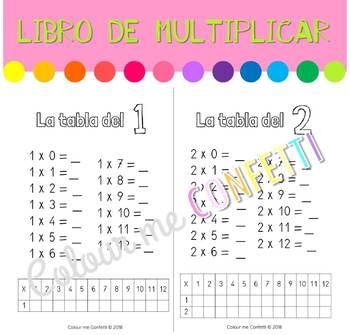 Mi libro de las tablas de multiplicar con tabla auxiliar - Colour me Confetti