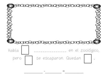Mi libro de resta en el zoológico : Zoo Subtraction Sentences in Spanish