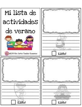 Mi lista de actividades de verano