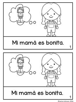 Mi mamá es bonita ~ My Mom is Pretty ~Simplified Adjective Reader {Bilingual}